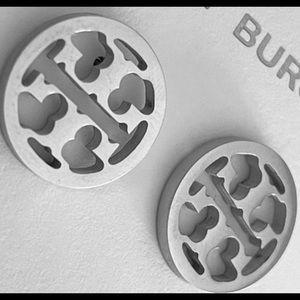 """🔥 SALE 🔥 Tory Burch """"Miller"""" silver logo stud earrings"""